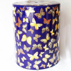 RZKA171298 Butterfly pattern blue background leisure porcelain stool