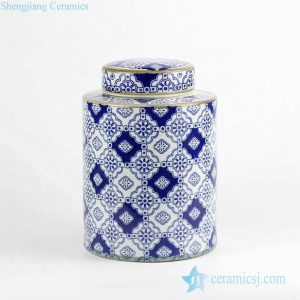 RZKQ01 India floral style blue and white ceramic tin