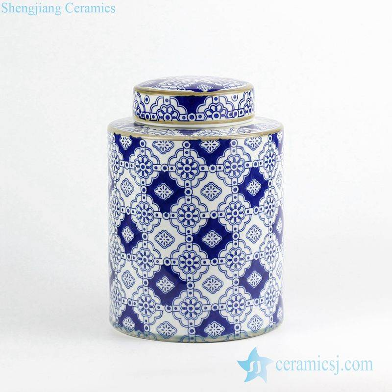 India floral style blue and white ceramic tin jar