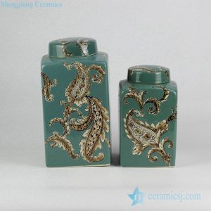 RZKQ02 Paisley pattern green porcelain square jar