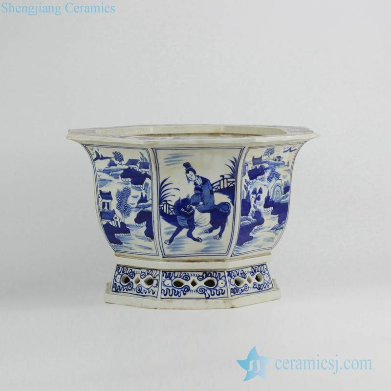China ancient maiden pattern hand paint blue and white octal porcelain planter