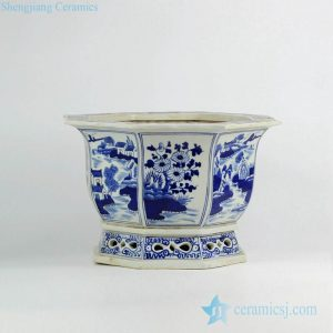 RZKS01-B Chrysanthemum flower blue and white hand drawn best quality ceramic nursery planter