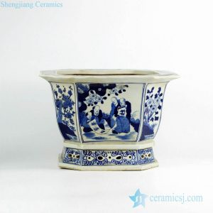 RZKS02-A Octal blue and white ancient Chinese artist pattern porcelain nursery planter