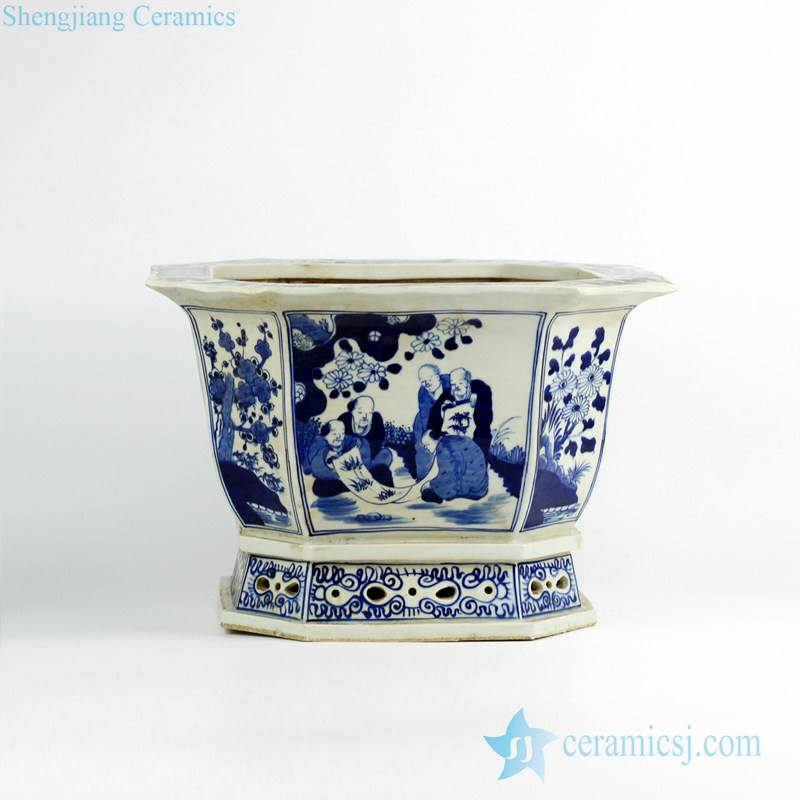Octal blue and white ancient Chinese artist pattern porcelain nursery planter