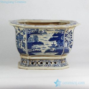 RZKS03-A blue and white scenery pattern hand paint porcelain orchid pot