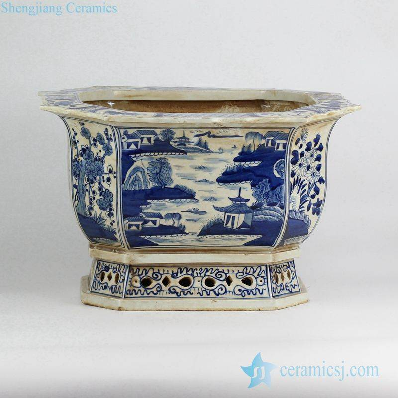 blue and white scenery pattern hand paint porcelain orchid pot