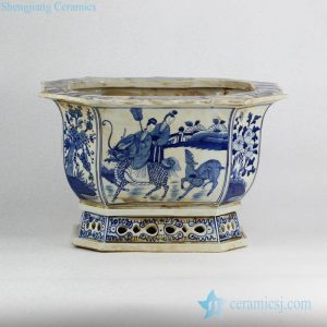 RZKS03-B Antique style fairy lady riding kylin and deer pattern octal porcelain nursery pot