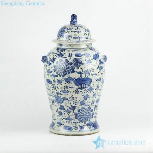 RZKT01-A Wholesale cheap price hundred floral pattern porcelain temple jar with lion knob