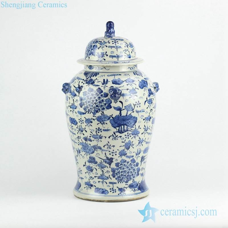 Wholesale cheap price hundred floral pattern porcelain temple jar with lion knob