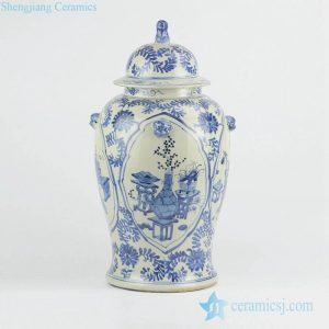 RZKT01-B Light blue color vintage style interior pattern porcelain ginger jar