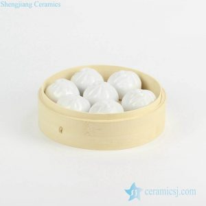 RZKW01 Creative design China porcelain steamed stuffed bun figurine
