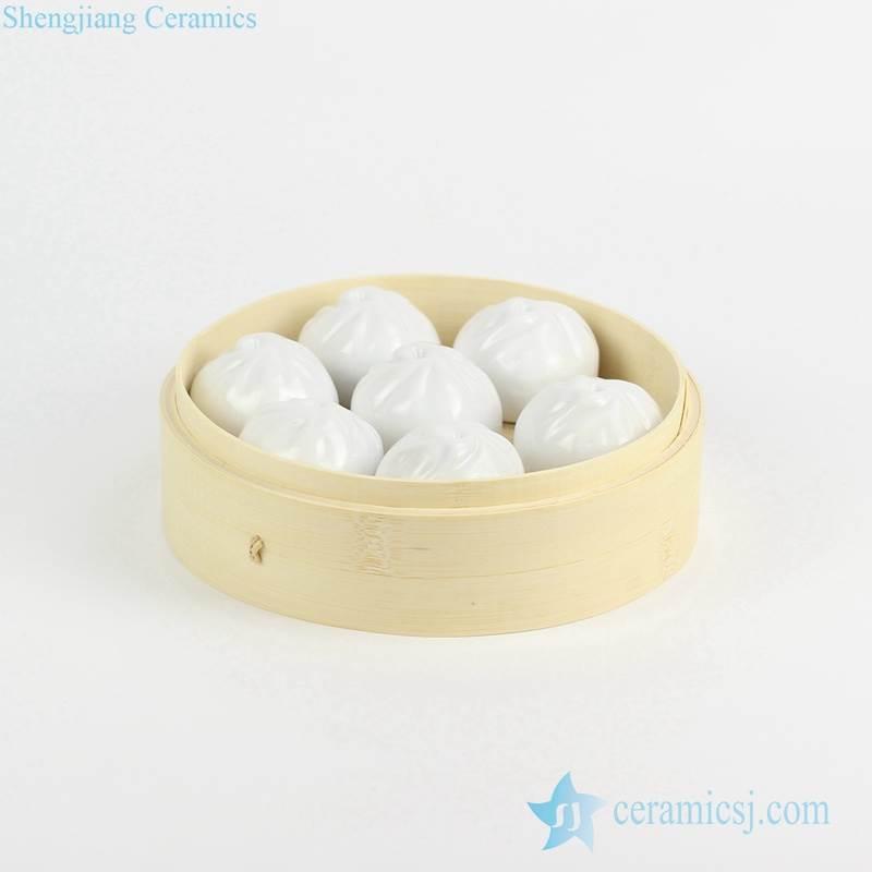 Creative design China porcelain steamed stuffed bun figurine