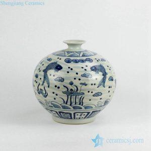 RZKY02 Antique blue and white couple carp pattern pomegranate shape porcelain vase