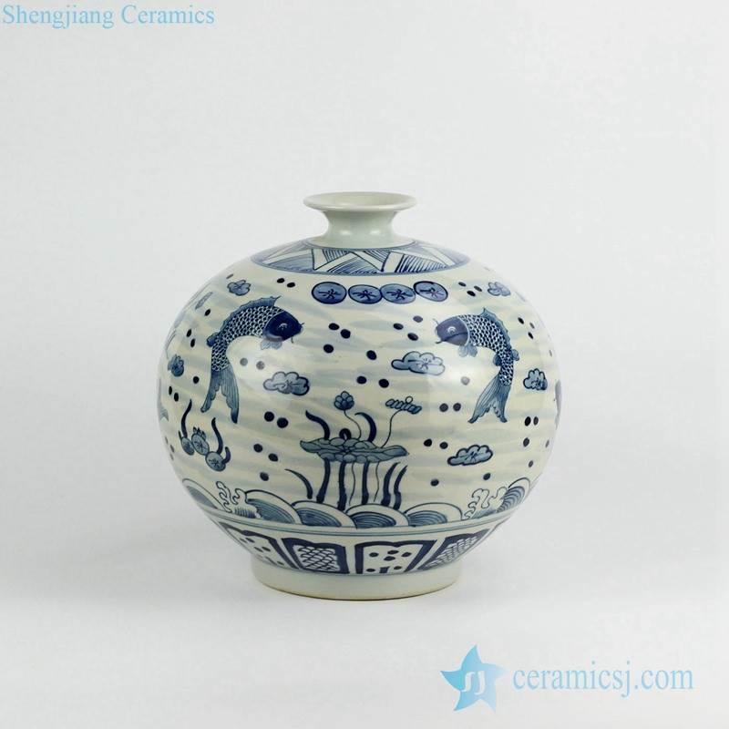 Antique blue and white couple carp pattern pomegranate shape porcelain vase