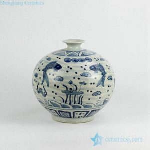 RZKY02 Antique blue and white couple carp pattern pomegranate shape porcelain vase