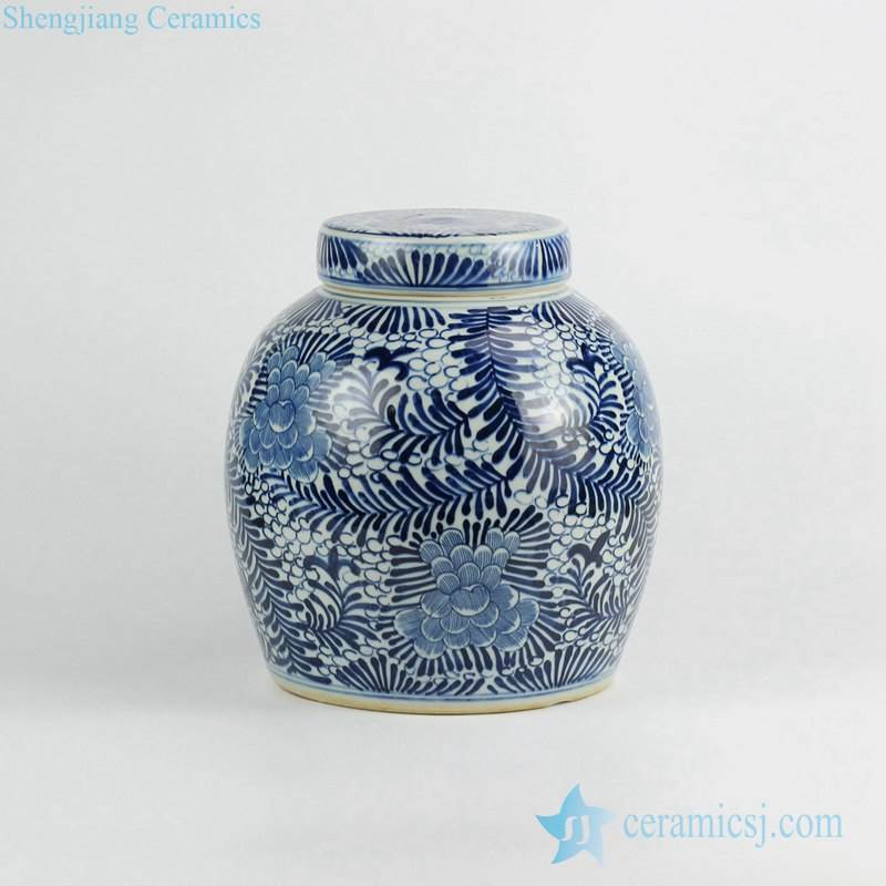 Blue and white hand paint tropical floral pattern ceramic urn with flat lid