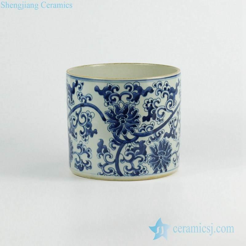 Blue and white hand paint flower pattern ceramic cylinder vase