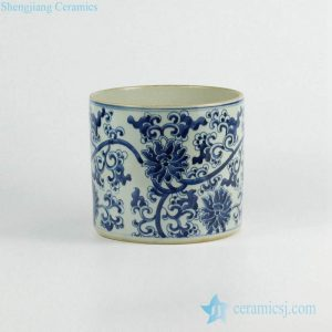 RZKY05-A Blue and white hand paint flower pattern ceramic cylinder vase