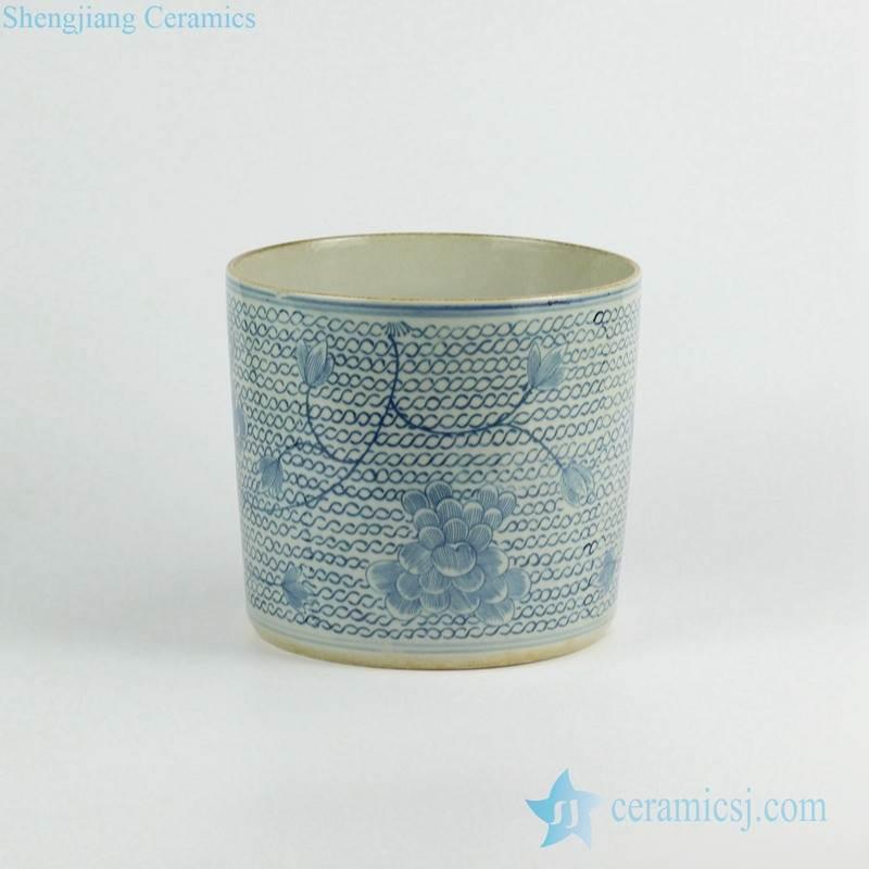 Antique finish blue and white floral vine ceramic vase pot