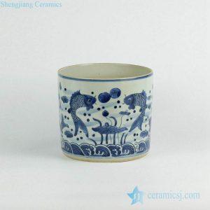 RZKY05-C Double carp pattern vintage hand paint blue and white tubular ceramic vase