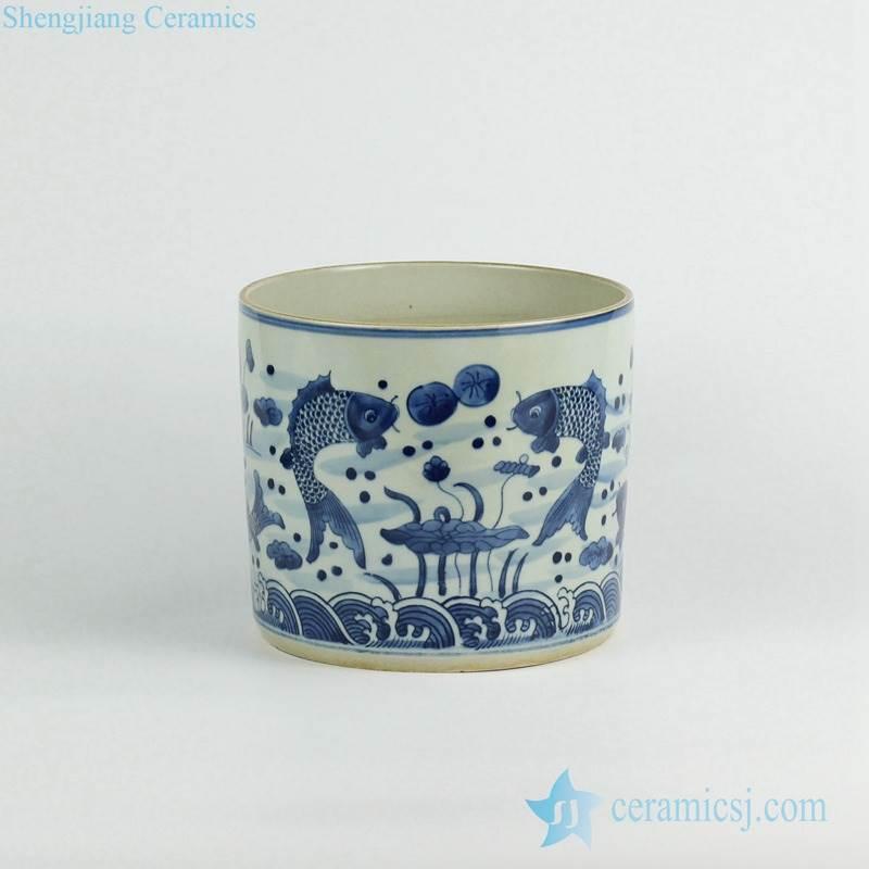 Double carp pattern hand paint blue and white tubular ceramic vase