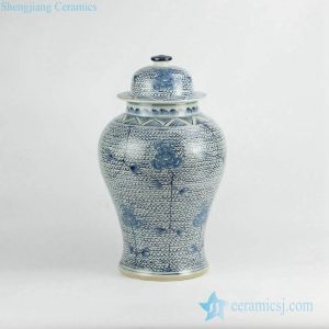 RZKY06 Hand paint blue and white floral pattern ceramic ginger jar