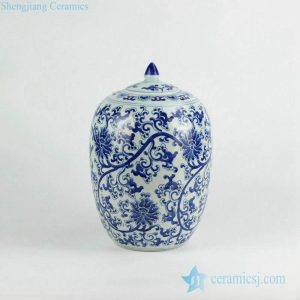 RZKY07 Blue and white floral pattern porcelain candle jar