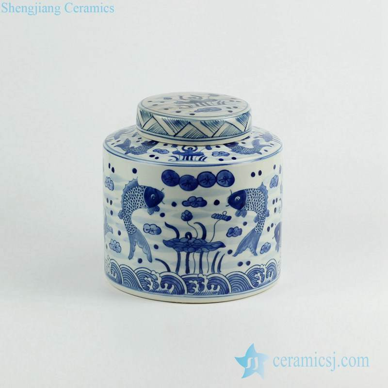 Flat lid blue and white couple fish hand drawing porcelain coffee bean container jar