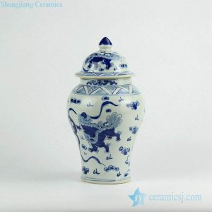 RZKY10-A Fairy lion playing with silk ball pattern hand craft ceramic ginger jar