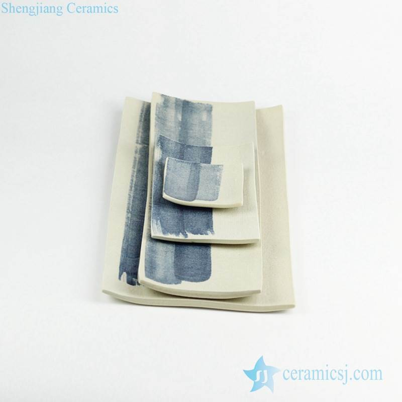 Coarse cloth pattern blue brush line pottery serving plates