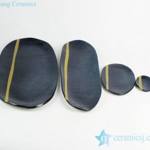 RZKZ02 Navy blue color mustard line ceramic set of plates