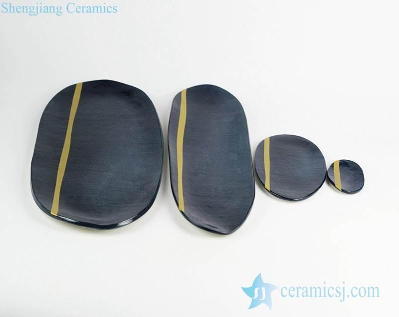 Navy blue color mustard line ceramic set plates