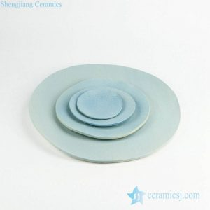 RZKZ03 Cerulean plain color linen texture ceramic serving tray