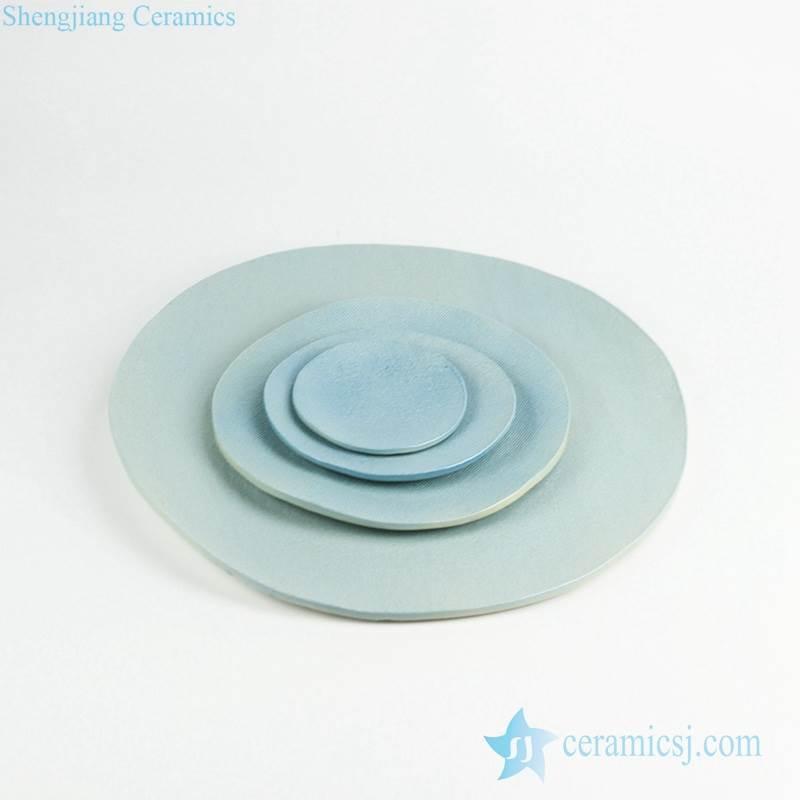 Cerulean plain color ceramic serving tray