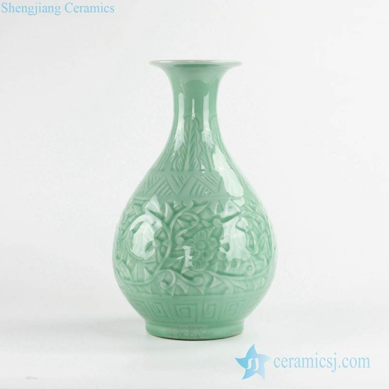 Celadon glaze embossed floral pattern ceramic flower vase