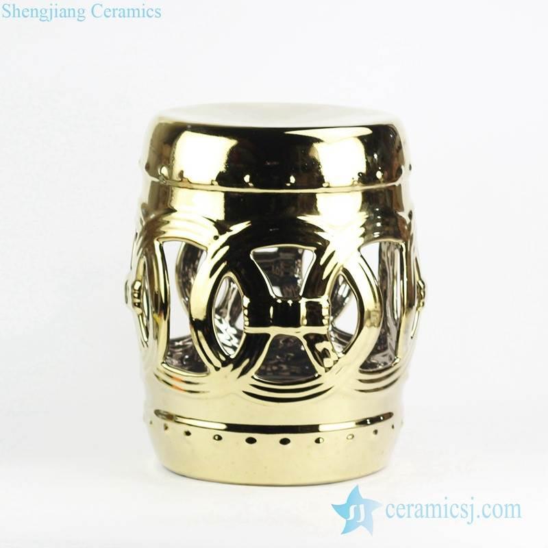 Golden shiny hook-ups design porcelain lounge stool