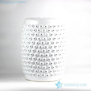RZLB02-A Pure white beads sculpture design ceramic porch stool