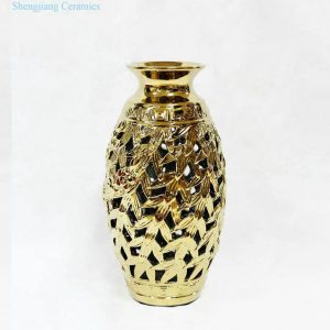 RZKA171018 Carved out golden leaves ceramic vase