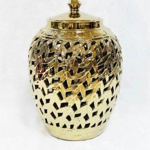 RZKA171028 Carved leaves gold ceramic home decor jar