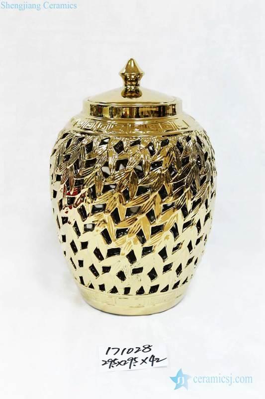 Carved leaves gold ceramic home decor jar