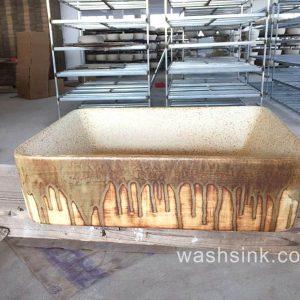 TPAA-005 Chocolate trail feeling rectangular shape cabinet top ceramic vanity sink for outside garden