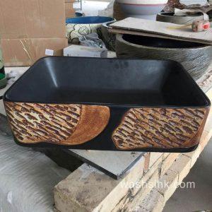 TPAA-007 Matte black background mixed style rectangular porcelain restaurant wash hand basin