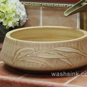 TPAA-050 Round ceramic wash basin bowl with carved reed pattern