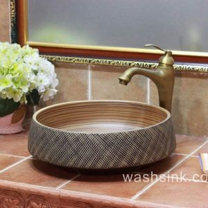 TPAA-051 Carved fishing net design round crockery above counter sink