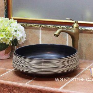 TPAA-052 white whirl design black glaze modern ceramic sink