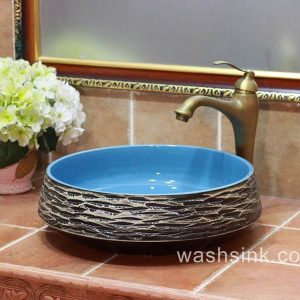 TPAA-054 blue sky color inside carved grey mountains design pottery sink bowl