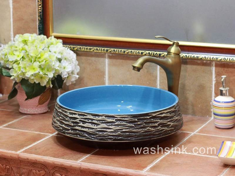 Blue Sky Color Inside Carved Grey Mountains Design Pottery Sink Bowl