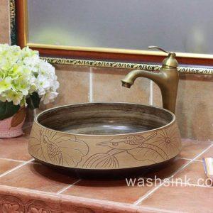 TPAA-055 Bird lotus pattern hand carving round ceramic kitchen vessel sink