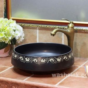 TPAA-056 Hand carving garland pattern black stainless ceramic utility sink bowl