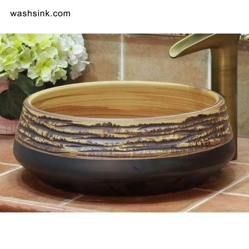 TPAA-067-w15h41j395-1 TPAA-067 Hand carved sauce glaze porcelain home decor wash cloth sink - shengjiang  ceramic  factory   porcelain art hand basin wash sink